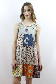 Vintage 90s Hippie Boho Patchwork Mini Dress, fits XS/S
