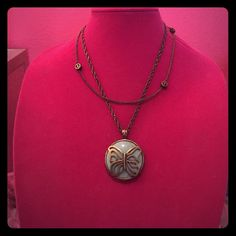 """Lucky Brand Butterfly+Peace Sign Layered Necklace Adorable brassy/bronze chain - Lucky Brand butterfly + peace sign layered reversible necklace - adjustable chain to be worn shorter or longer - 11 1/2"""" when worn at the longest link - has a shorter chain with 3 little peace signs - longer pendant can be worn butterfly side up or peace sign side up - SO cute - Gently worn - mint condition Lucky Brand Jewelry Necklaces"""