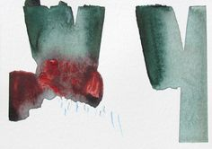 """Watercolor Abstract Art, red, blue/green, ORIGINAL fine art -- """"Painting 695"""""""