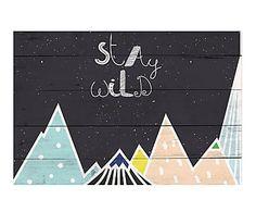 Panel de madera Stay Wild - 60x40 cm