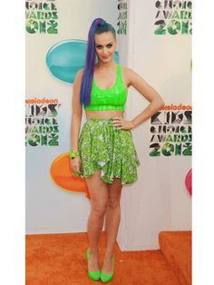 Style flashback: Katy Perry in a slime green midriff top at the 2012 Kids' Choice Awards