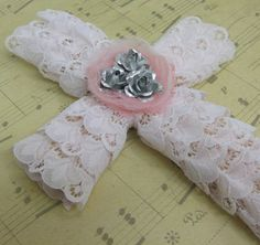 Lacey Pink Trimmed Wood Wall Cross with Roses by cherryscreations, $14.95