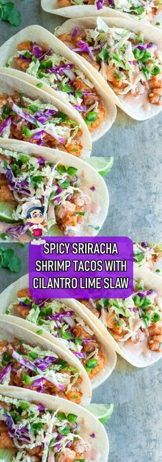 SPICY+SRIRACHA+SHRIMP+TACOS+WITH+CILANTRO+LIME+SLAW Lime Recipes, Slaw Recipes, Mexican Food Recipes, Jicama Slaw, Healthy Fish Tacos, Spicy Shrimp Tacos, Cilantro Lime Vinaigrette, Cilantro Lime Sauce, Recipes