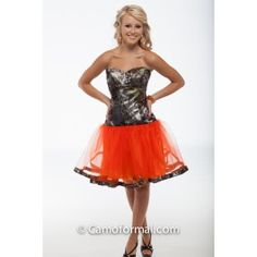 3660 Payton Short Ball Gown with Camo Trim Pictured in Mossy Oak New Breakup and Hunter's Orange.Available in other net colors and all camo patterns in sizes 2-30.Made in the USA.Country Prom Grad Wedding