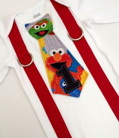 READY TO SHIP - Size 12M Sesame Street Birthday Inspired Tie and Suspenders Applique Onesie for Baby Boys - 1st Birthday - Elmo Birthday