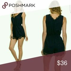 Navy Lace Romper Gorgeous summer must have!! Navy Blue Romper. Features lace trim details. Available later this week! Bellaposh Pants Jumpsuits & Rompers
