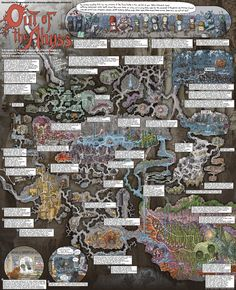 "Check out this rather awesome walkthrough poster of Out of the Abyss by comic artist and illustrator Jason Thompson. ""Jason Thompson illustrates the. Fantasy Map Making, Fantasy Art, Adventure Rpg, Pen And Paper Games, Rpg Map, Character And Setting, Forgotten Realms, Dungeon Maps, Dungeons And Dragons Homebrew"