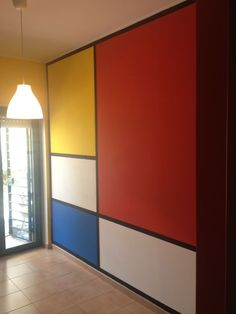 Mondrian Wall Mondrian Wall Mondrian Wall The Idea From A Mondrian Painting Mondrian Wall Home Decorations Painting Modern Art Renovation Wall Paint Colors, Room Colors, Deco Design, Wall Design, Kids Room Paint, Room Kids, Kids Rooms, House Wall, Bedroom Wall