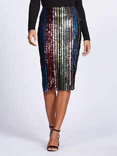 071f90a707069 Shop Gabrielle Union Collection - Petite Sequin Stripe Pencil Skirt. Find  your perfect size online