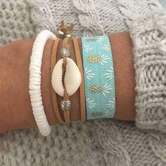 beach jewelry boho bracelet beachcomber shell bracelet stack mermaid cowrie shell beachy bracelet stack