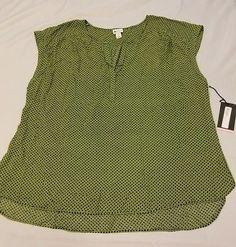 New Stylus plus size 3x green top v neck blouse cap sleeves tunic shirt diamond