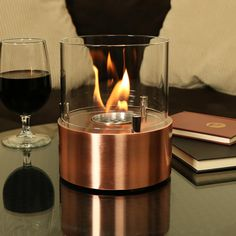 Sunnydaze Tre Poli Ventless Bio Ethanol Tabletop Indoor Fireplace - Copper for sale online Tabletop Fireplaces, Bioethanol Fireplace, Ceramic Wool, Copper Top Table, Ethanol Fuel, Into The Fire, Thing 1, Dim Lighting, Dramatic Lighting