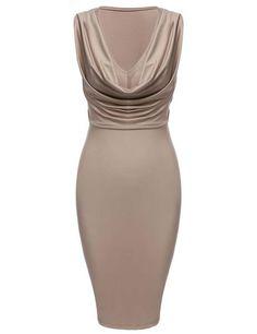 Khaki New Sexy Deep Womens V-neck Bodycon Bandage Tank Club Evening Party Dresses