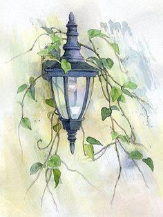 【水彩画テラス】 小さな風景「蔦の絡まる灯」                                                                                                                                                      もっと見る