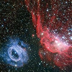 ESO - eso1335a - Two very different glowing gas clouds in the Large Magellanic Cloud. Image credit: ESO