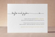 """""""The Happy Couple"""" - Modern, Simple Letterpress Wedding Invitations in Charcoal by R studio."""