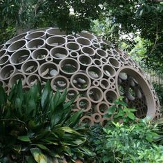 Design students Min‐Chieh Chen, Dominik Zausinger and Michele Leidi of the ETH Zurich, Switzerland, have sent us some images of a pavilion made of cardboard hoops. Amazing Architecture, Landscape Architecture, Interior Architecture, Landscape Design, Garden Design, Permaculture Design, Pavillion, Geodesic Dome, Garden Structures