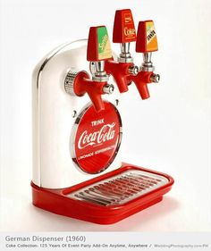 *COCA-COLA ~ German dispenser manufactured by the Cornelius Company in the late 1950's, this one is a Germen version of the white dispenser with the red disc includes lines Trink Coca-Cola, Limonade-Koffeinhaltig