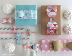 Paper bow template gift wrap and decor