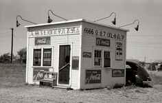 """September 1939. """"Hamburger stand with old cattle brands. Dumas, Texas."""" 35mm negative by Russell Lee for the Farm Security Administration."""