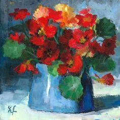 "Daily Paintworks - ""Nasturtium miniature"" - Original Fine Art for Sale - © Linda Jacobus"