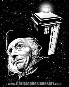 """$10 This print features the First Doctor (played by William Hartnell) and his iconic time machine, the TARDIS. When Doctor Who premiered in 1963, it's central character was a mysterious traveller in time and space known only as """"The Doctor,"""" played by the great William Hartnell. #DoctorWho #1stDoctor #WilliamHartnell"""
