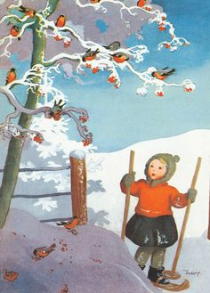 MARTTA WENDELIN | Osastot | Korttien Talo Vintage Christmas Cards, Christmas Images, Christmas Art, Winter Illustration, Children's Book Illustration, Vintage Crafts, Vintage Art, I Love Winter, Childrens Christmas
