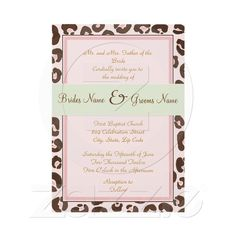 Pink Leopard Wedding Invitation from Zazzle.com