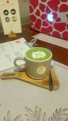 Matcha latte :) deliciously cute!  at cups cafe, bandung, Indonesia