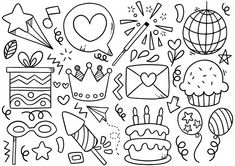 Mini Drawings, Doodle Drawings, Easy Drawings, Happy Birthday Doodles, Happy Doodles, Cute Doodle Art, Posca Art, Cool Paper Crafts, Coloring Pages Inspirational