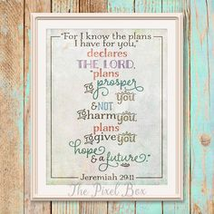 by ThePixelBox on Etsy Typography Love, Jeremiah 29 11, I Know The Plans, Inspirational Wall Art, Quote Posters, Bible Verses, Motivational Quotes, Bullet Journal, Printables
