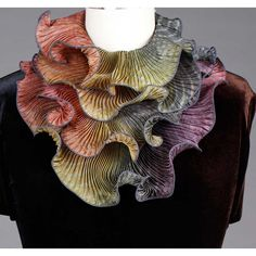 Shibori Silk Infinity Scarf SIA-308 in Grey Straw and Magenta by Cathayana, Artistic Designer Hand Dyed and Pleated Silk Scarf