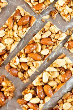 5 Ingredient Homemade KIND Nut Bars (V, GF, DF): an easy, one bowl recipe for irresistibly salty and sweet homemade KIND Vegan Protein Bars, Protein Bar Recipes, Healthy Bars, Healthy Vegan Snacks, Nutritious Snacks, Healthy Recipes, High Protein, Protein Cake, Protein Muffins