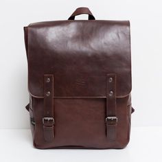 Unisex Leather Backpack School Bag w/ Straps