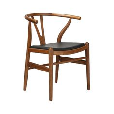 Hans Wegner Inspired Wishbone Chair in ML001 Black Leather by Aeon Furniture / Dark Ash SW019 Wood - Hans Wegner Wishbone Chair