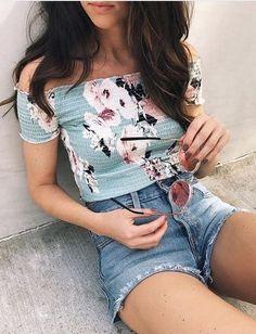 summer outfits Mint Floral Off The Shoulder Top / Denim Short