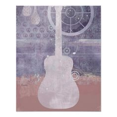 Purple Guitar Abstract Silhouette Musical