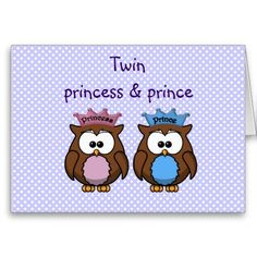 Twin Owl Princess Prince Card Birthday Cards For Twins Parties Babies