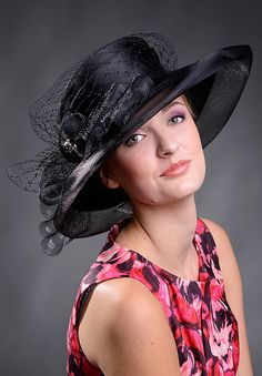 Black haute couture classical ladies hat with triple crin bow and crystal stone brooch