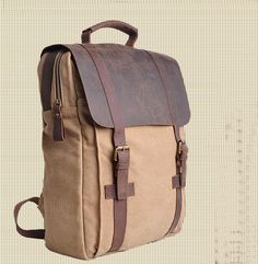 Genuine Cow leather bag canvas bag BACKPACK Leather Briefcase / leather Messenger bag / 14' 15'Laptop bag / Men's leather canvas Bag (1820-1) · sean vintage handmade bags · Online Store Powered by Storenvy