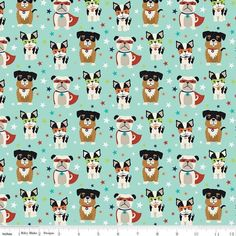 Dog Fabric, Boston Terrier Fabric, Super Dog Novelty Teal Fabric / Novelty of the Month / Super Dog Fabric by the yard Riley Blake Drapery Fabric, Linen Fabric, Dog Background, Picnic Tablecloth, Teal Fabric, Turquoise Background, Vintage Dress Patterns, Summer Prints, Riley Blake