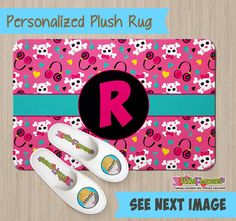 Personalized Skulls and Music Rug - Personalized Plush Rug - Personalized Nursery Rug - Children Rug - Nursery Skulls Rug - Skulls bedroom