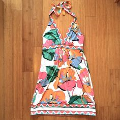 BCBG MaxAzria flowered halter dress BCBG MaxAzria flowered halter dress. Never worn. Perfect condition. BCBGMaxAzria Dresses Midi