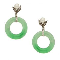 1930's jade, pearl and diamond drop earrings ❤ liked on Polyvore featuring jewelry, earrings, drop earrings, pearl earrings, pearl diamond earrings, pearl jewellery and pearl jewelry