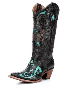 Corral Women's Black/Turquoise Vintage Lizard Inlay Cowgirl Boots  http://www.countryoutfitter.com/products/36455-womens-black-turquoise-vintage-lizard-inlay-boot-c2658