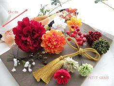 白ダリアとピンクの和装の髪飾り,結婚式の花嫁・成人式着物の花飾り ヘアアクセサリー通販