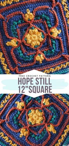 Hope Still Square Free Crochet Pattern This amazing block looks great on its own and can be a beautiful decoration, but if you want to undertake a bigger project, transform it into a stunning afghan!It's a project for intermediate crocheters. Motifs Granny Square, Crochet Square Blanket, Crochet Squares Afghan, Crochet Blocks, Granny Square Crochet Pattern, Crochet Pillow, Granny Squares, Ripple Afghan, Crochet Granny