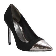 Adrianna Papell Desire Crepe Metallic Cap Toe Pump #VonMaur #AdriannaPapell #Black #CapToe #Metallic