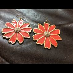 J. Crew orange flower earrings Adorable dangle earrings with small crystals in center J. Crew Jewelry Earrings