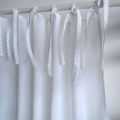Rideau en lin lavé blanc finition nouettes decoclico Maison